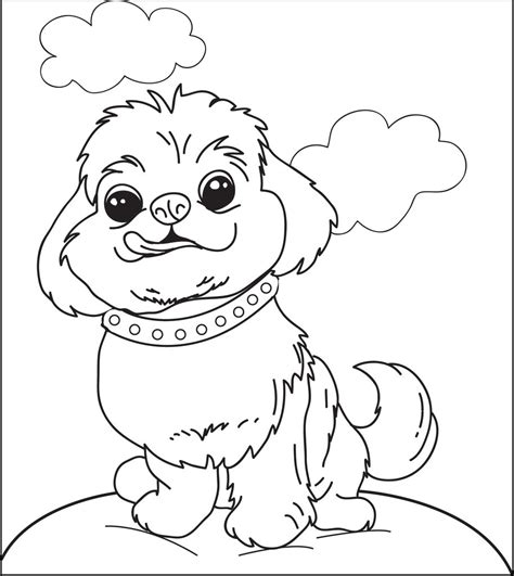 Printable Fluffy Puppy Dog Coloring Page for Kids SupplyMe