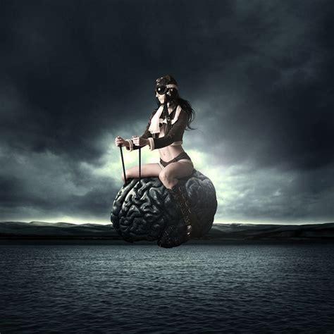 create  surreal flying brain photo manipulation