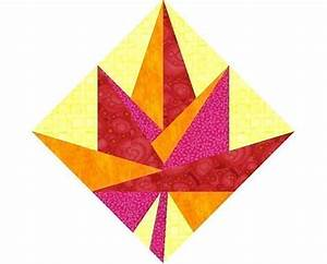Maple Leaf Paper pieced quilt block pattern PDF