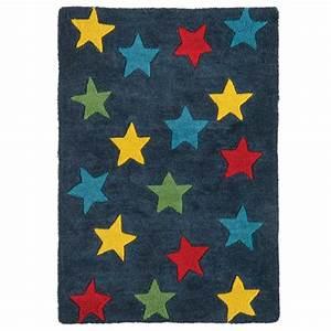 tapis de chambre contemporain etoile bleu en coton With tapis chambre bébé avec livraison fleurs lendemain