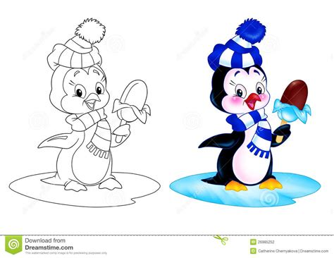 Penguin Cartoon Ice Cream Stock Illustration. Illustration