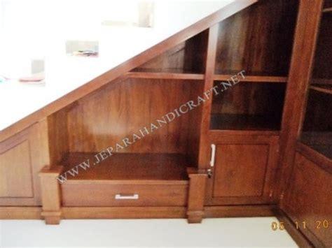jual lemari minimalis bawah tangga kayu jati harga murah