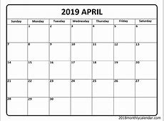 April 2019 Calendar – Blank & Editable