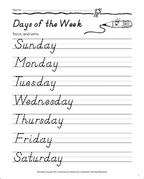 days   week manuscript practice printable skills