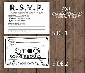 50 cassette tape song request rsvp cards by With wedding invitations with rsvp and song request