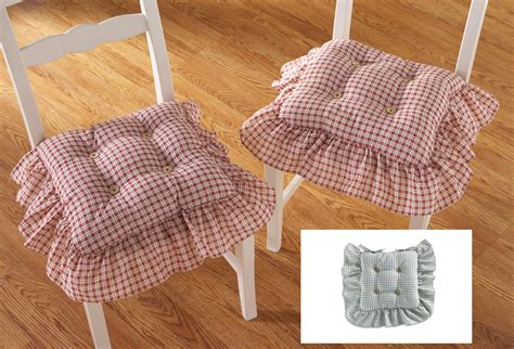 country plaid check ruffled kitchen chair cushion set ebay