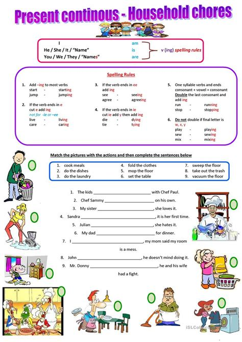 household chores present continuous english esl