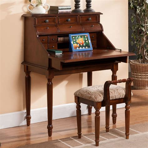 bureau commode continental desk folding computer solid wood