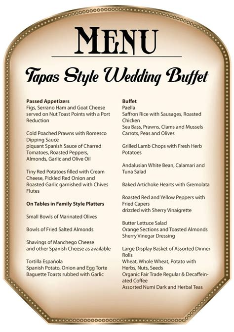 wedding buffet menu ideas diy globalbytes menus