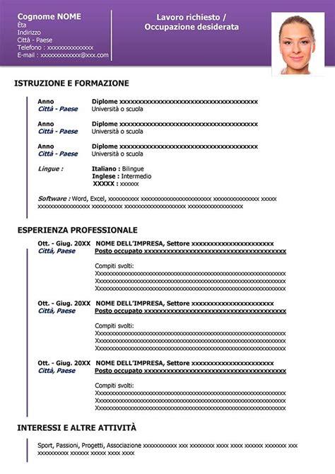 Curriculum Vitae Pdf by Curriculum Vitae Pdf Esempio