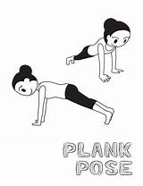 Plank Illustration Cartoon Yoga Vector Monochrome Pose Activity sketch template