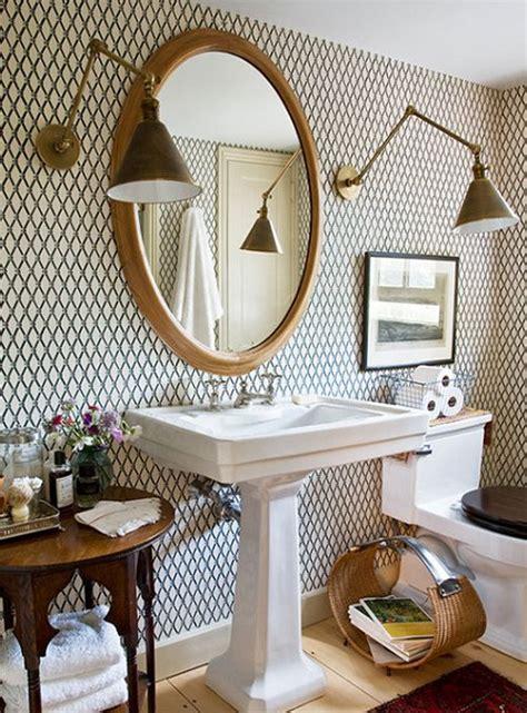 brass accent wallpaper bathroom