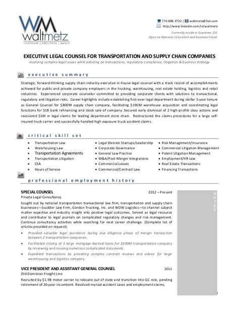 mergers and acquisitions attorney resume walt metz transportation resume