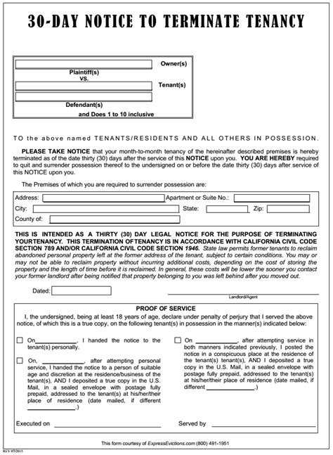 Notice To End Tenancy Template by Printable Eviction Notice Image Collections Cv