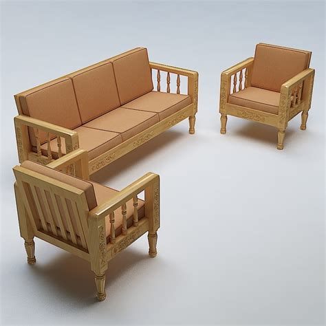 sofa set wooden 3d max - Sofa Set Wood