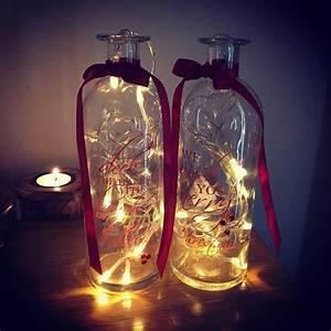 set, of, 2, vintage, tall, christmas, script, glass, jar, vases, , u0026, 2, fairy, lights