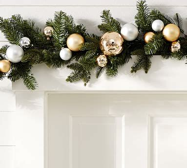 outdoor ornament pine garland goldsilver pottery barn