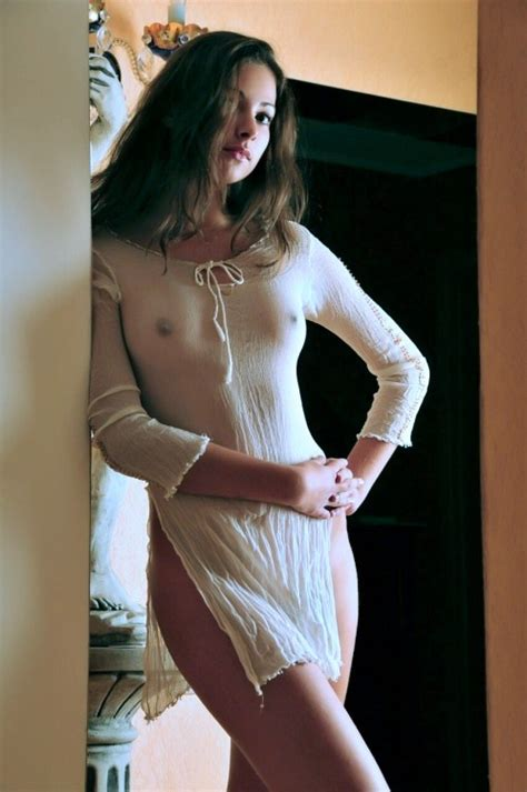 Braless Brunette In See Through Dress TarAlcarin