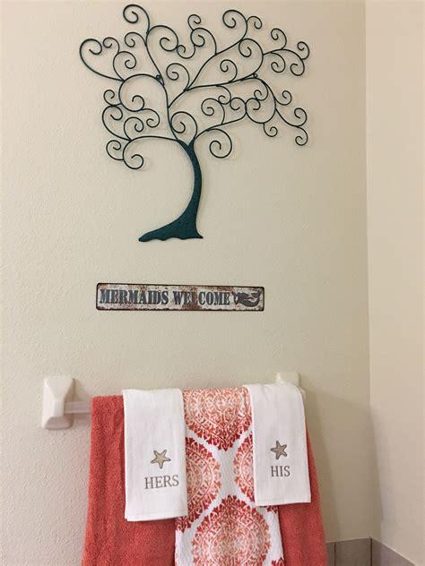 Bathroom decor & design ideas. Bathroom decor hobby lobby metal wall art and towels from kohls. All clearance! | Decor, Home ...