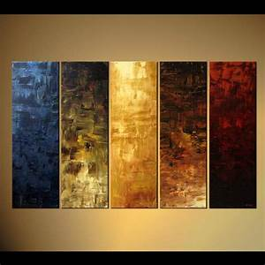 Painting - large vertical abstract painting multi panel #4501