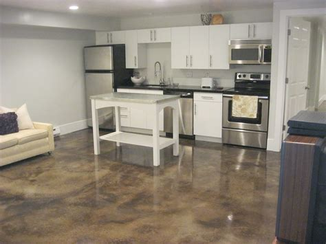 cool small kitchen ideas decor polished concrete floors and sofa with white