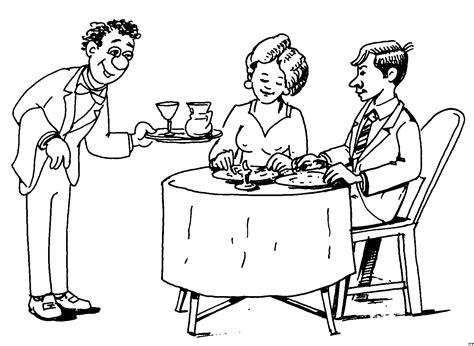 ehepaar im restaurant ausmalbild malvorlage essen und