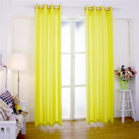 bright yellow linen curtain ready made customized