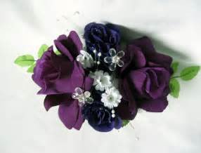 boutonniere prom purple wrist corsage with crystals and pearls