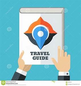 Mens Hand Holding Travel Guide  Creative Flat Illustration