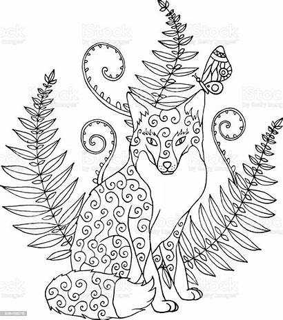Fern Coloring Fox Tribal Forest Ornated Zentangle