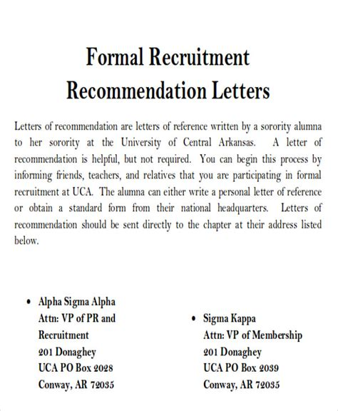 sample sorority recommendation letter  examples
