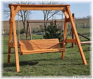 LoggyLand Hollywoodschaukel Holz Gartenschaukel Gartenbank