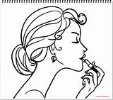 Coloring Makeup Nail Lipstick Polish Draw Pages Drawing Lip Accessories Mirror Getdrawings Sketch Template sketch template