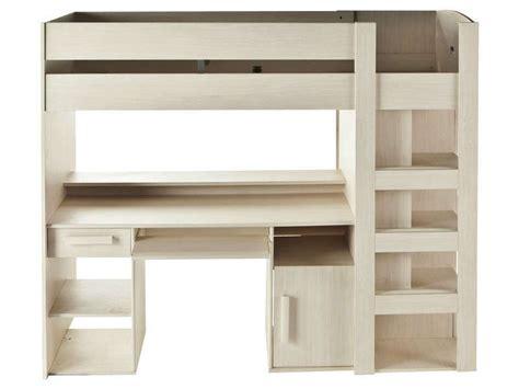 lit surélevé avec bureau intégré lit mezzanine 90x200 cm montana conforama pickture