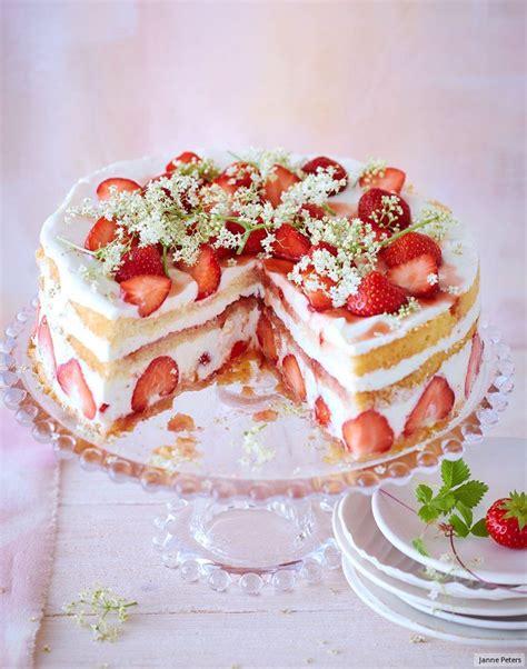 Erdbeeren Fruchtiges Deko Motiv by Erdbeer Holunderbl 252 Ten Torte Rezept In 2019 Backen