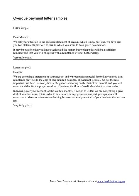outstanding payment letter sample overdue