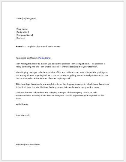 Complaint Letter to Boss about Work Environment | Formal