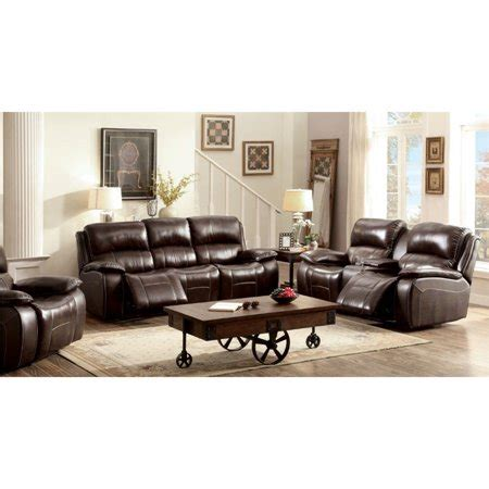 Top Grain Leather Recliner Sofa by Furniture Of America Marta Top Grain Leather Recliner Sofa