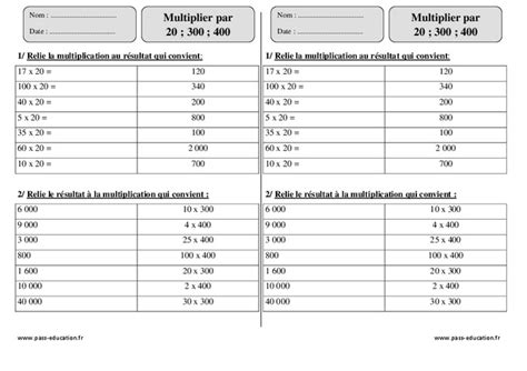 revision table de multiplication ce2 multiplier par 20 300 400 ce2 exercices 224 imprimer pass education