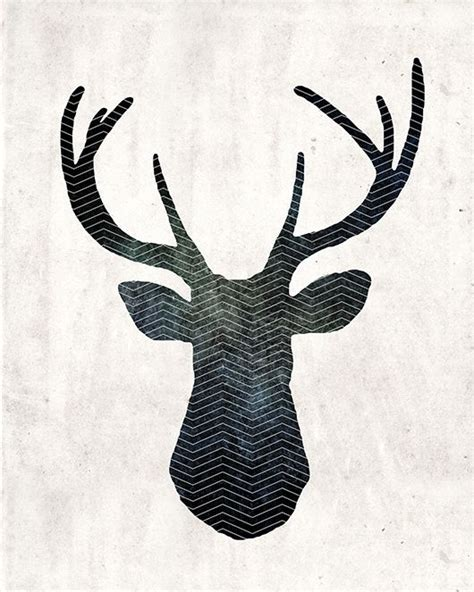 art  large    stag head print stag