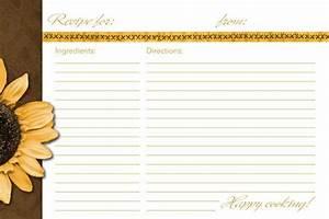 4x6 recipe card template sunflower recipe card recipe With 5x7 recipe card template for word