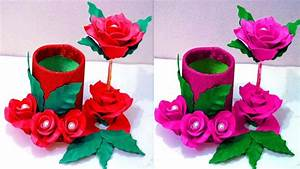 How to make flower vase at home - Plastic bottle flower ...
