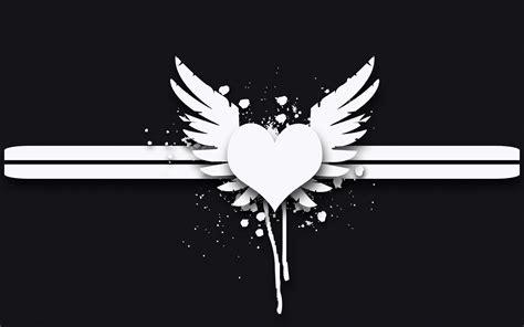 gray angel wings heart wallpaper