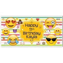 Emoji Banner Rainbow Birthday Personalized Party Backdrop