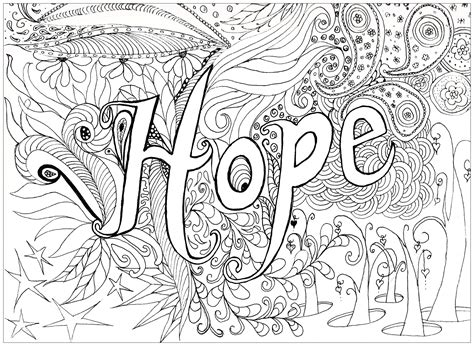 hope anti stress adult coloring pages