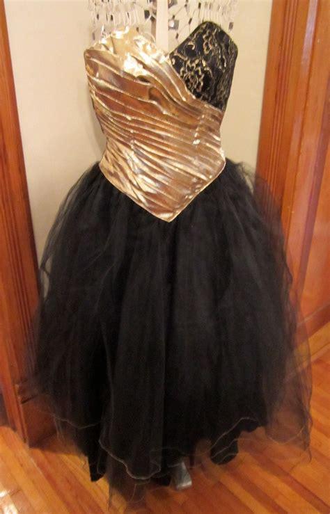 vintage  formal gold lame black tulle  lace full