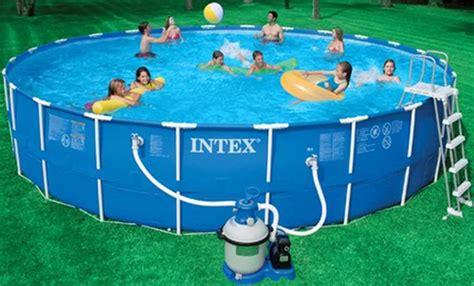 intex metal frame  ground swimming pool