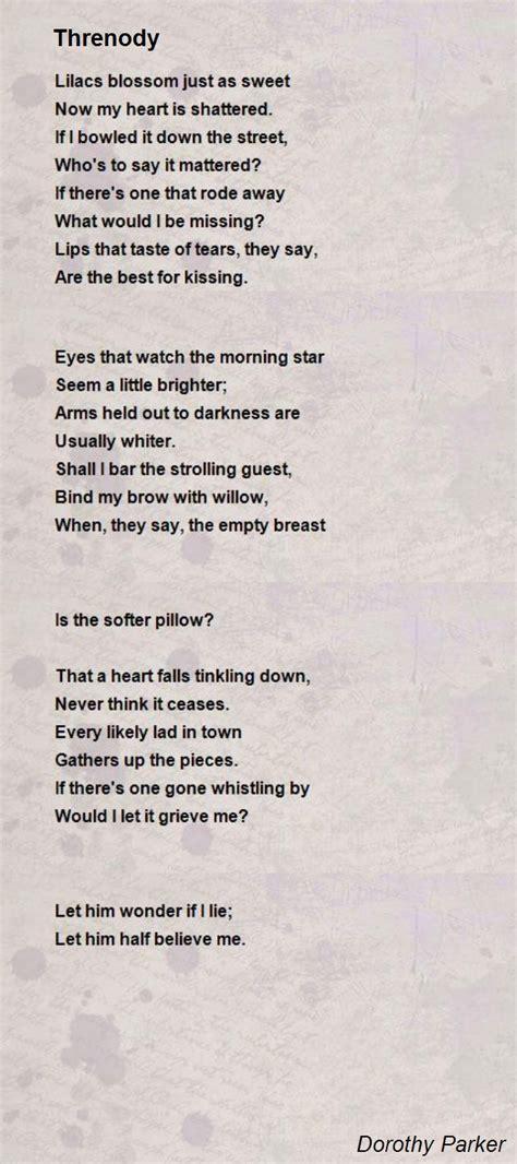 threnody poem  dorothy parker poem hunter