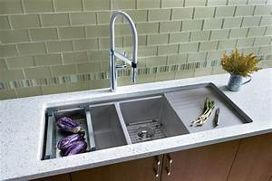 undermount sink with drainboard Kitchen Contemporary with
