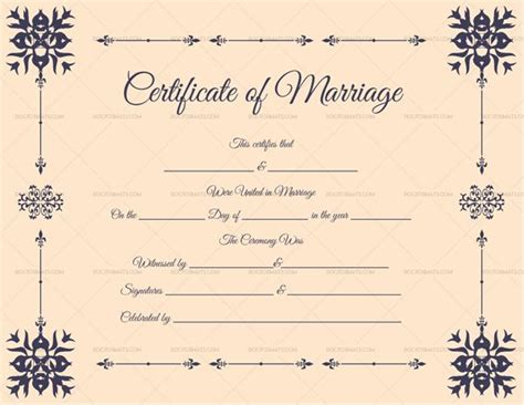 marriage certificate format  english light pink